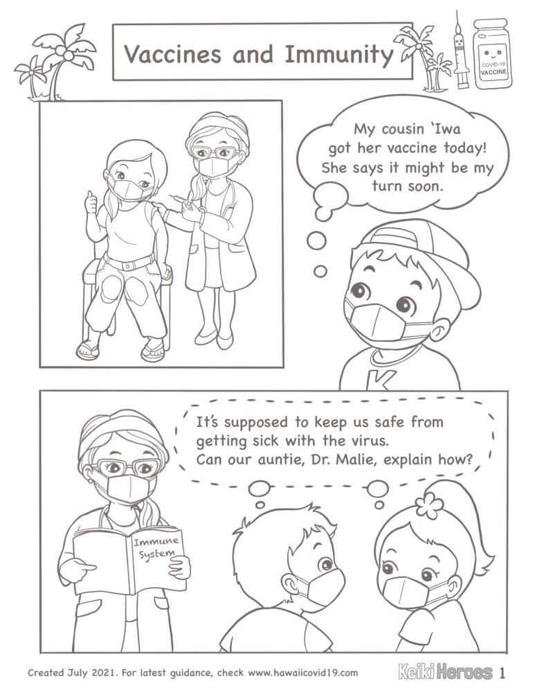 Hōkū And Kai Learn How Vaccines Create Immunity – Comic Strip B/W