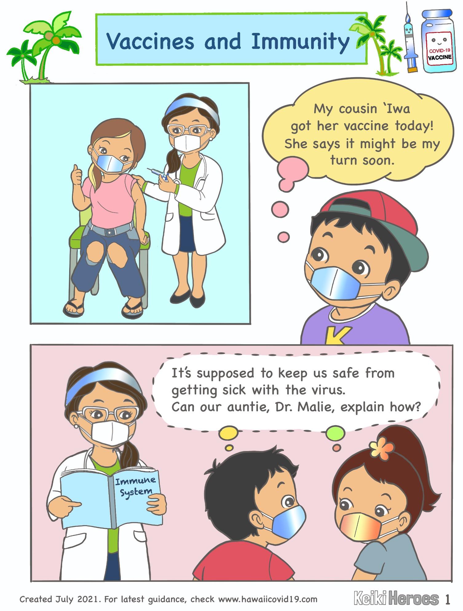 Hōkū And Kai Learn How Vaccines Create Immunity – Comic Strip